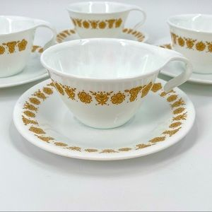 Corelle Butterfly Gold Handle Cups Saucers 8 PCs